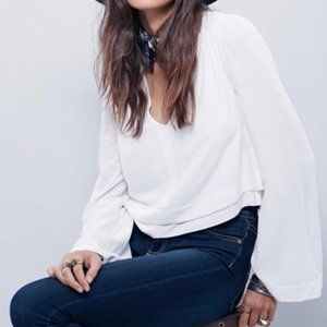 Free People V-Neck Crop Flare Sleeve Top